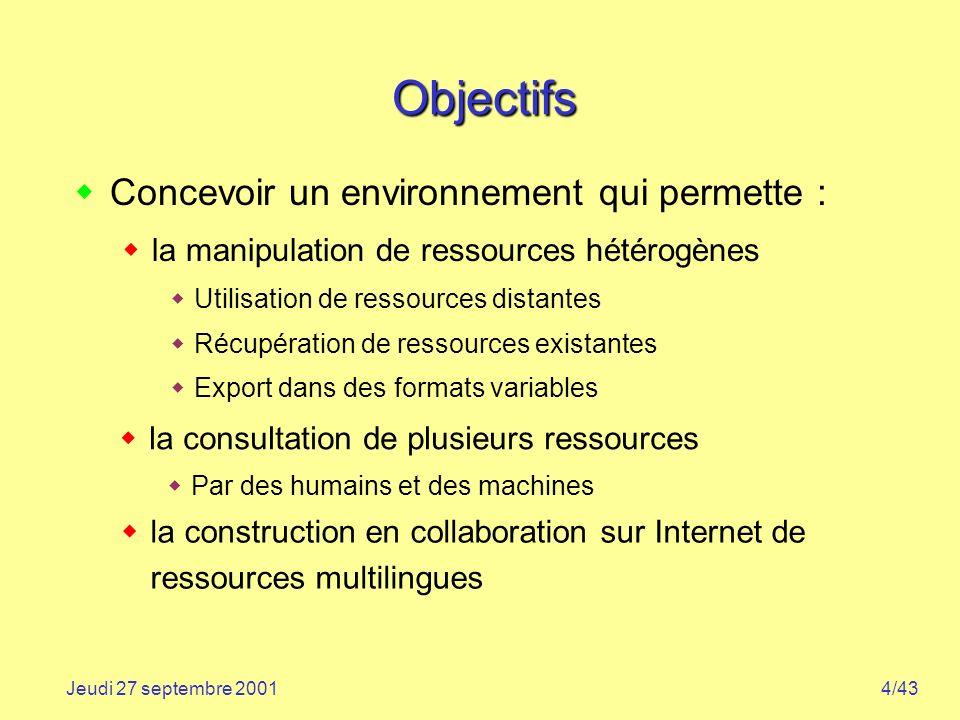 4/43Jeudi 27 septembre 2001 Objectifs Concevoir un environnement qui permette : la manipulation de ressources hétérogènes Utilisation de ressources di