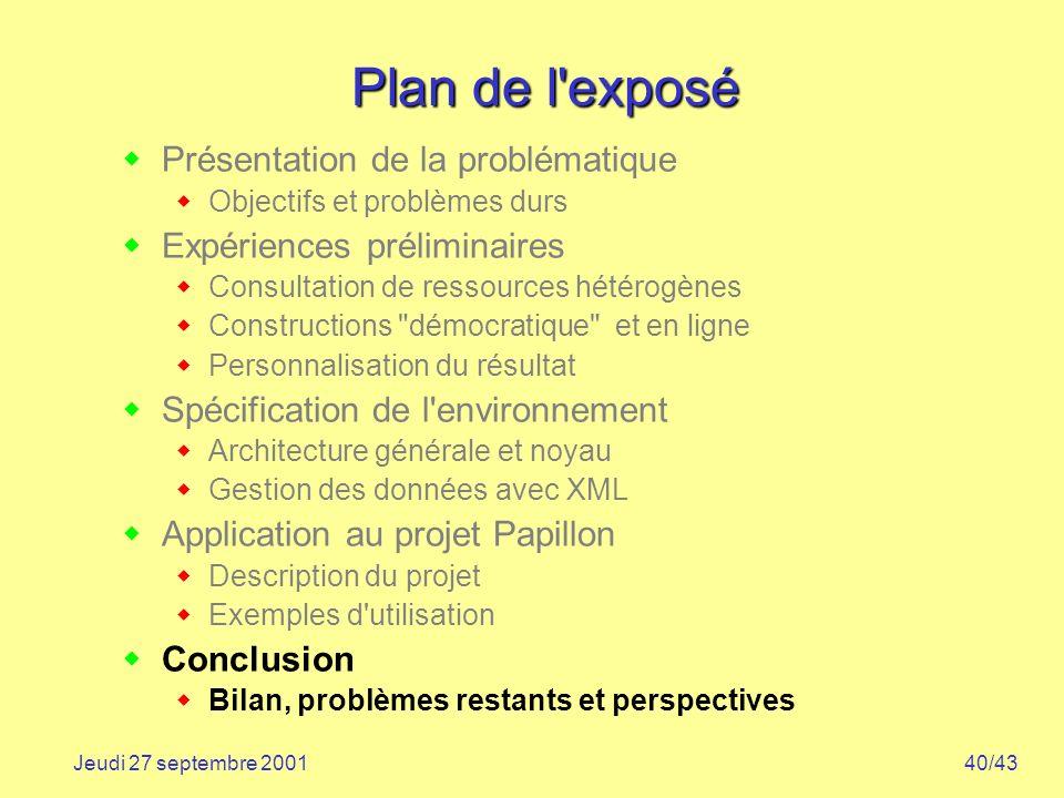 40/43Jeudi 27 septembre 2001 Plan de l'exposé Présentation de la problématique Objectifs et problèmes durs Expériences préliminaires Consultation de r
