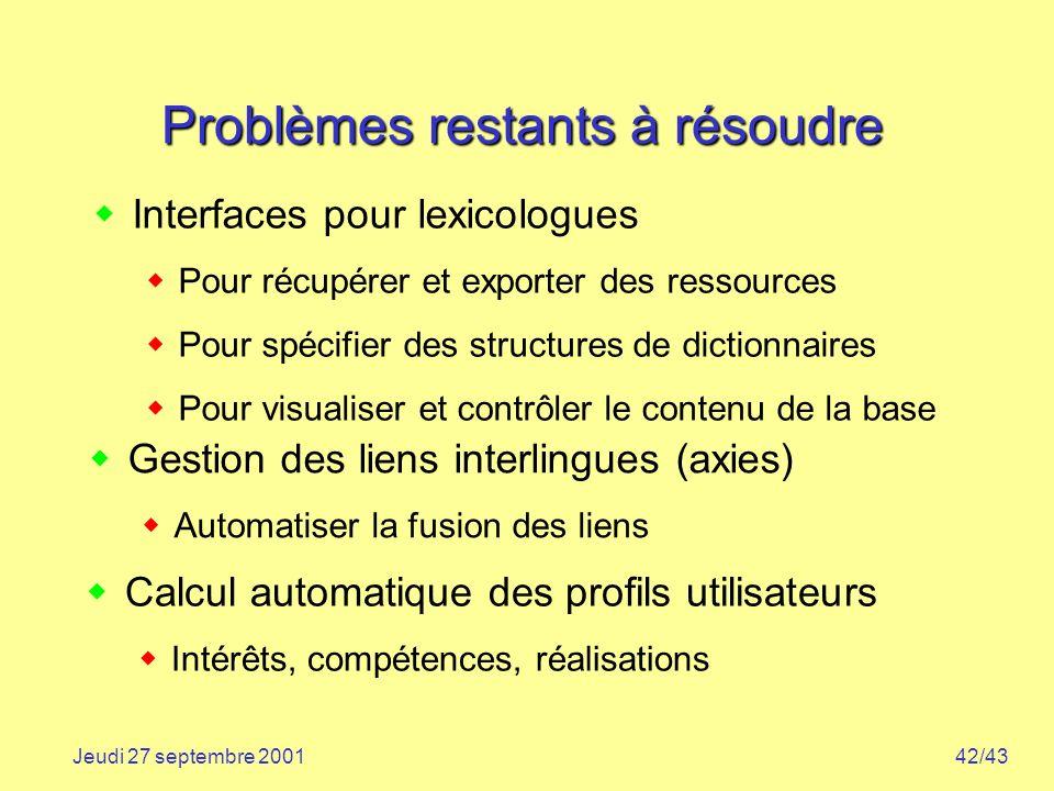 42/43Jeudi 27 septembre 2001 Problèmes restants à résoudre Interfaces pour lexicologues Pour récupérer et exporter des ressources Pour spécifier des s