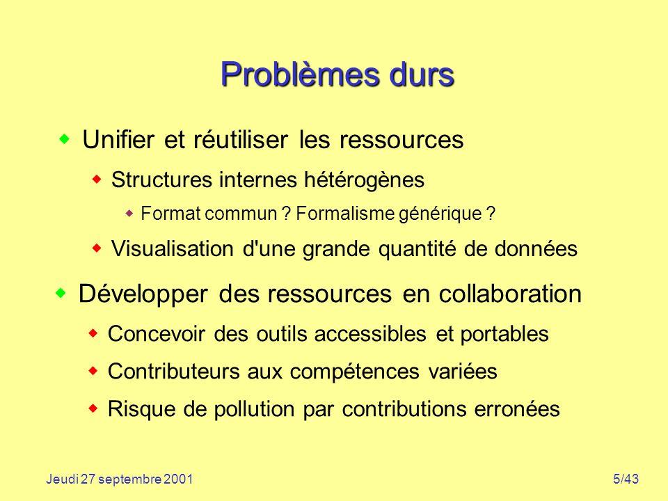 5/43Jeudi 27 septembre 2001 Problèmes durs Unifier et réutiliser les ressources Structures internes hétérogènes Format commun ? Formalisme générique ?