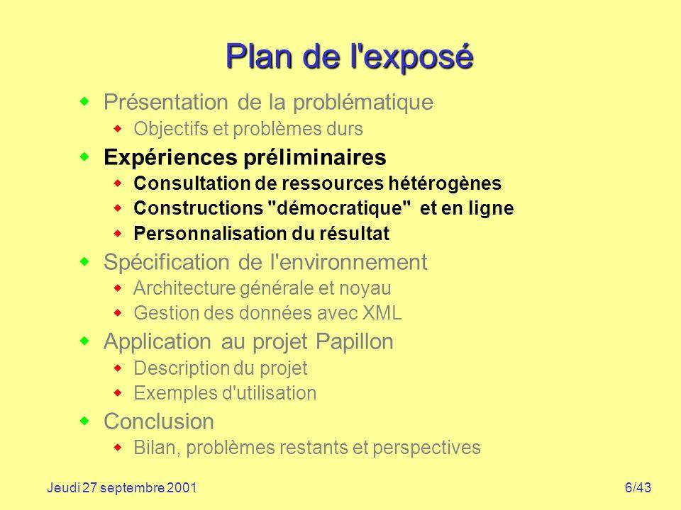 6/43Jeudi 27 septembre 2001 Plan de l'exposé Présentation de la problématique Objectifs et problèmes durs Expériences préliminaires Consultation de re