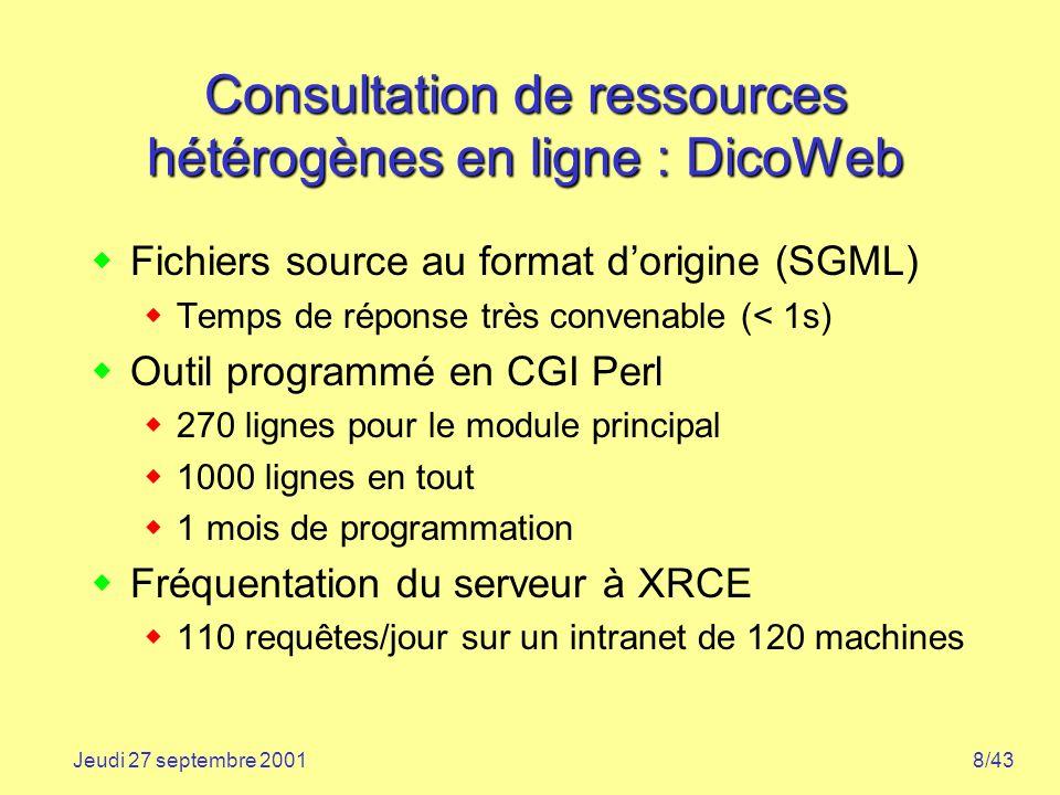 8/43Jeudi 27 septembre 2001 Consultation de ressources hétérogènes en ligne : DicoWeb Fichiers source au format dorigine (SGML) Temps de réponse très