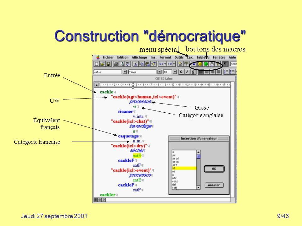 9/43Jeudi 27 septembre 2001 Construction