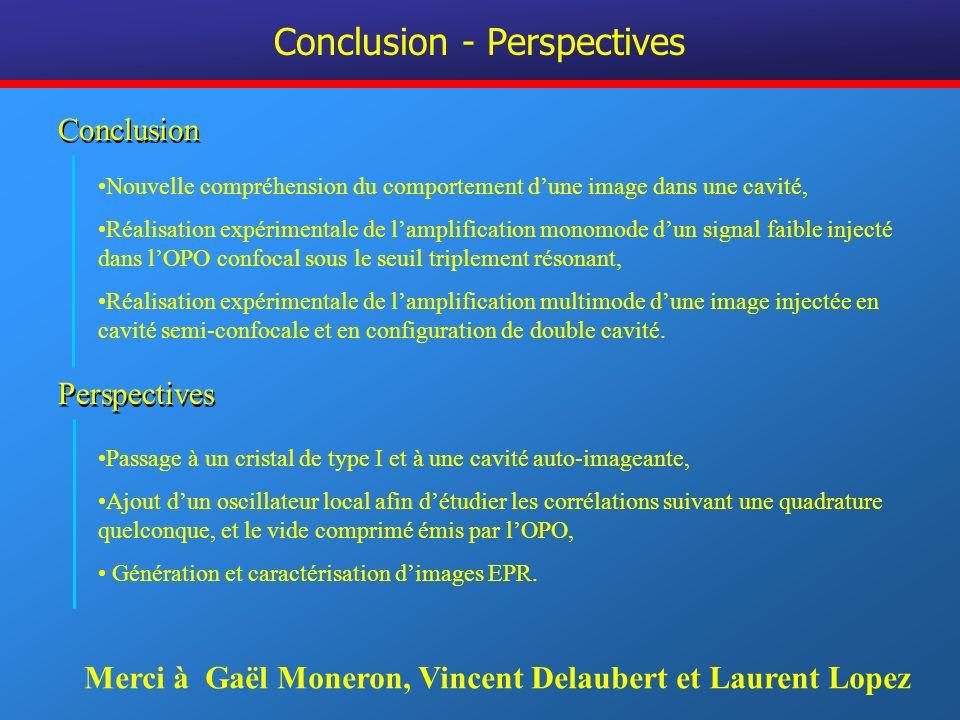 Conclusion - Perspectives Passage à un cristal de type I et à une cavité auto-imageante, Ajout dun oscillateur local afin détudier les corrélations su
