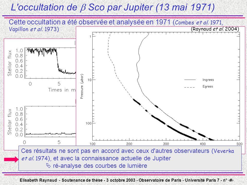 Elisabeth Raynaud - Soutenance de thèse - 3 octobre 2003 - Observatoire de Paris - Université Paris 7 - n° 13 L occultation de Sco par Jupiter (13 mai 1971) Cette occultation a été observée et analysée en 1971 ( Combes et al.