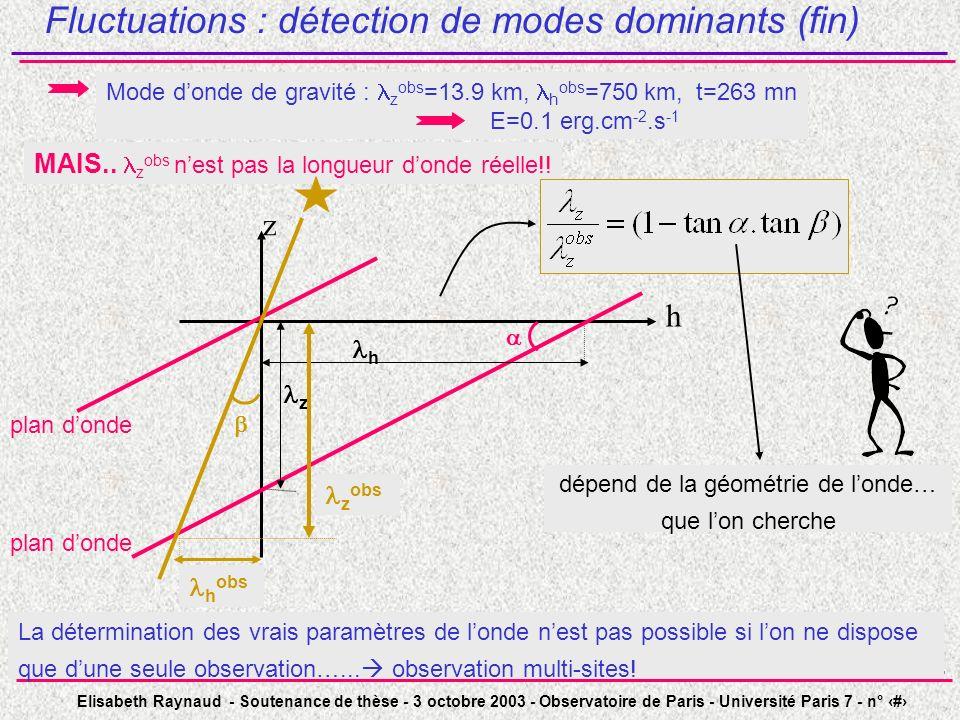 Elisabeth Raynaud - Soutenance de thèse - 3 octobre 2003 - Observatoire de Paris - Université Paris 7 - n° 26 Fluctuations : détection de modes domina