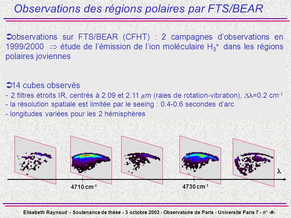 Elisabeth Raynaud - Soutenance de thèse - 3 octobre 2003 - Observatoire de Paris - Université Paris 7 - n° 33 Observations des régions polaires par FT