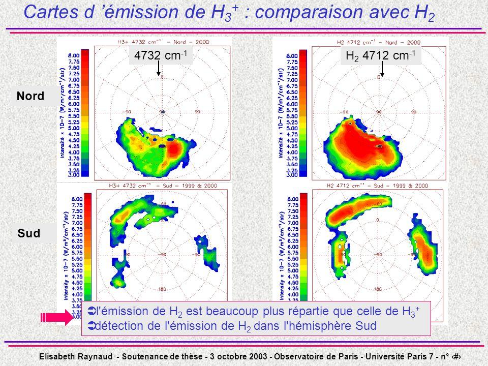 Elisabeth Raynaud - Soutenance de thèse - 3 octobre 2003 - Observatoire de Paris - Université Paris 7 - n° 37 Cartes d émission de H 3 + : comparaison avec H 2 4732 cm -1 Nord Sud H 2 4712 cm -1 l émission de H 2 est beaucoup plus répartie que celle de H 3 + détection de l émission de H 2 dans l hémisphère Sud