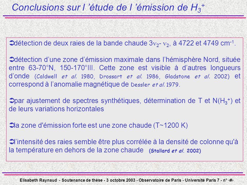 Elisabeth Raynaud - Soutenance de thèse - 3 octobre 2003 - Observatoire de Paris - Université Paris 7 - n° 44 Conclusions sur l étude de l émission de H 3 + détection de deux raies de la bande chaude 3 2 - 2, à 4722 et 4749 cm -1.