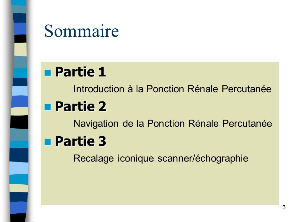 3 Sommaire Partie 1 Partie 1 Introduction à la Ponction Rénale Percutanée Partie 2 Partie 2 Navigation de la Ponction Rénale Percutanée Partie 3 Parti
