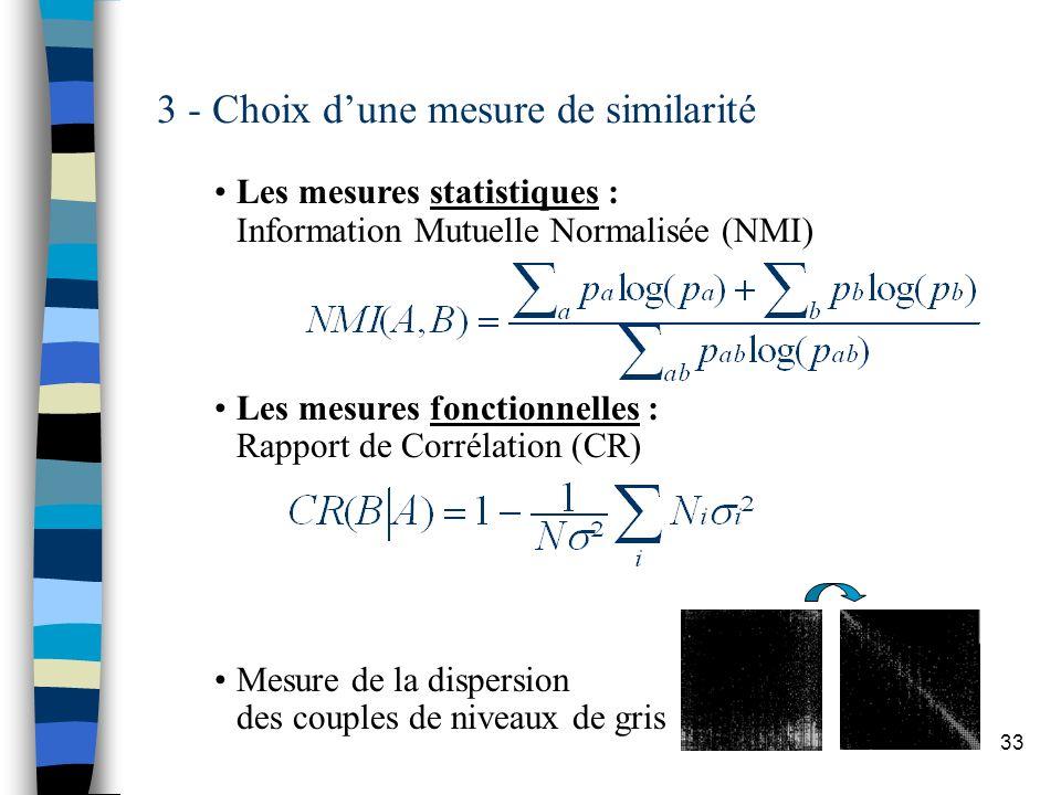 33 3 - Choix dune mesure de similarité Les mesures statistiques : Information Mutuelle Normalisée (NMI) Les mesures fonctionnelles : Rapport de Corrél