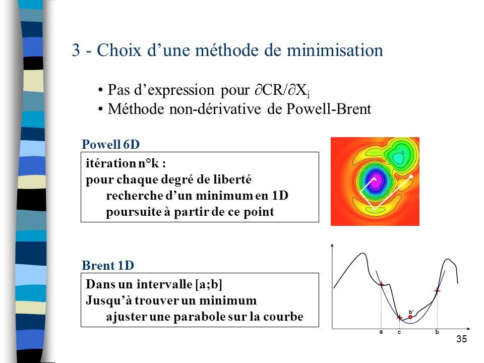 35 Dans un intervalle [a;b] Jusquà trouver un minimum ajuster une parabole sur la courbe Brent 1D 3 - Choix dune méthode de minimisation Pas dexpressi