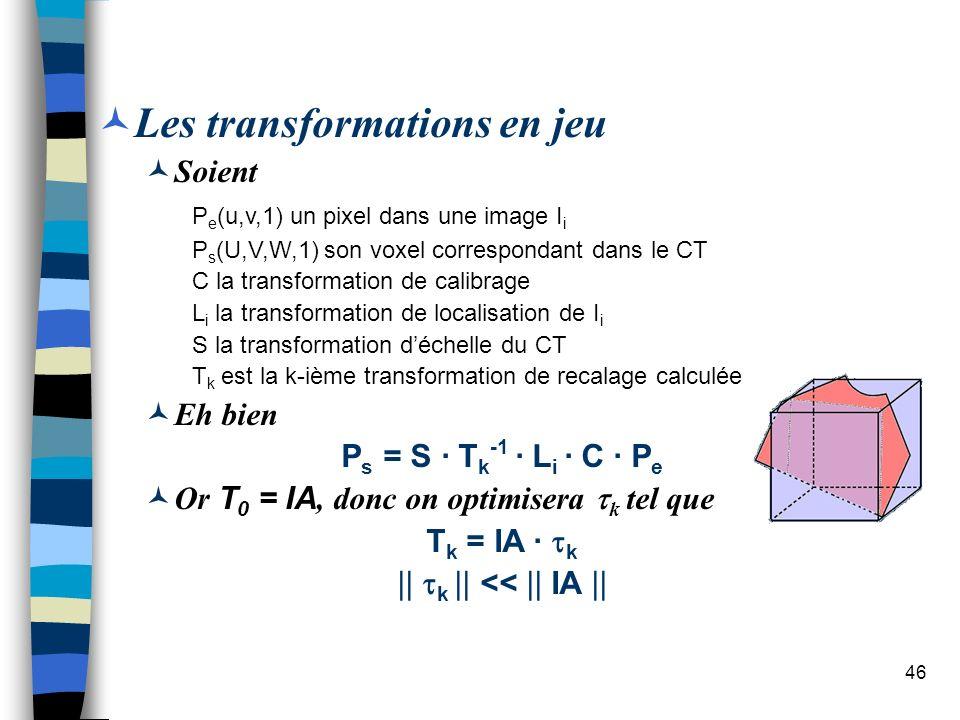 46 Les transformations en jeu Soient P e (u,v,1) un pixel dans une image I i P s (U,V,W,1) son voxel correspondant dans le CT C la transformation de c