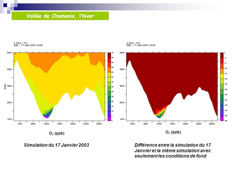 Simulation du 17 Janvier 2003Différence entre la simulation du 17 Janvier et la même simulation avec seulement les conditions de fond Vallée de Chamonix, lhiver O 3 (ppb)