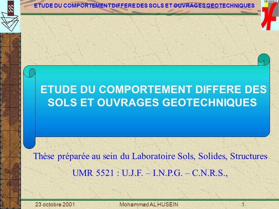 23 octobre 2001Mohammad AL HUSEIN2 PLAN DE PRESENTATION I: ETUDE PIBLIOGRAPHIQUE II: LANALYSE NUMERIQUE DE LA SOLLICITATION PRESSIOMETRIQUE III: APPROCHE QUALITATIVE SUR LE SSCM IV: VALIDATION DU MODELE SSCM 1: La Haney clay et largile dOsaka 2: Cubzac-les-Ponts 3: Le site de Saint-Laurent-des-Eaux 4: Le barrage du Flumet V: CONCLUSIONS VI: PERSPECTIVES