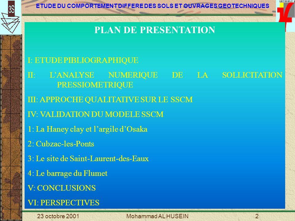 ETUDE DU COMPORTEMENT DIFFERE DES SOLS ET OUVRAGES GEOTECHNIQUES 23 octobre 2001Mohammad AL HUSEIN43 IV.2 SIMULATION NUMERIQUE DU COMPORTEMENT A LONG TERME D UN REMBLAI EN TERRE (Cubzac-les-Ponts) Coupe géotechnique de la vallée de la Dordogne au niveau de Cubzac-les-Ponts (Magnan et al, 1999) Disposition des remblais sur le site expérimental de Cubzac-les-Ponts