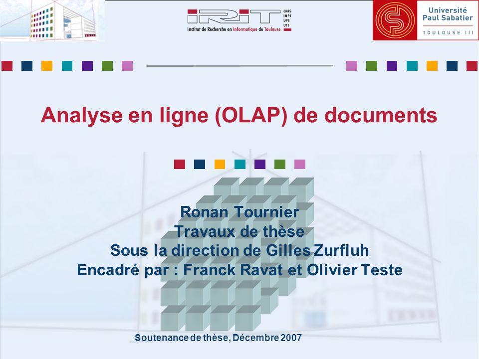 IRIT, SIG/ED Analyse en ligne (OLAP) de documents Décembre 2007 12 État de lart (2/3) Magasins et XML Intégration de données XML [Golfarelli-01]… Données sources fortement structurées Stockage XML multidimensionnel [Messaoud-06]… Grande redondance dans les données XML