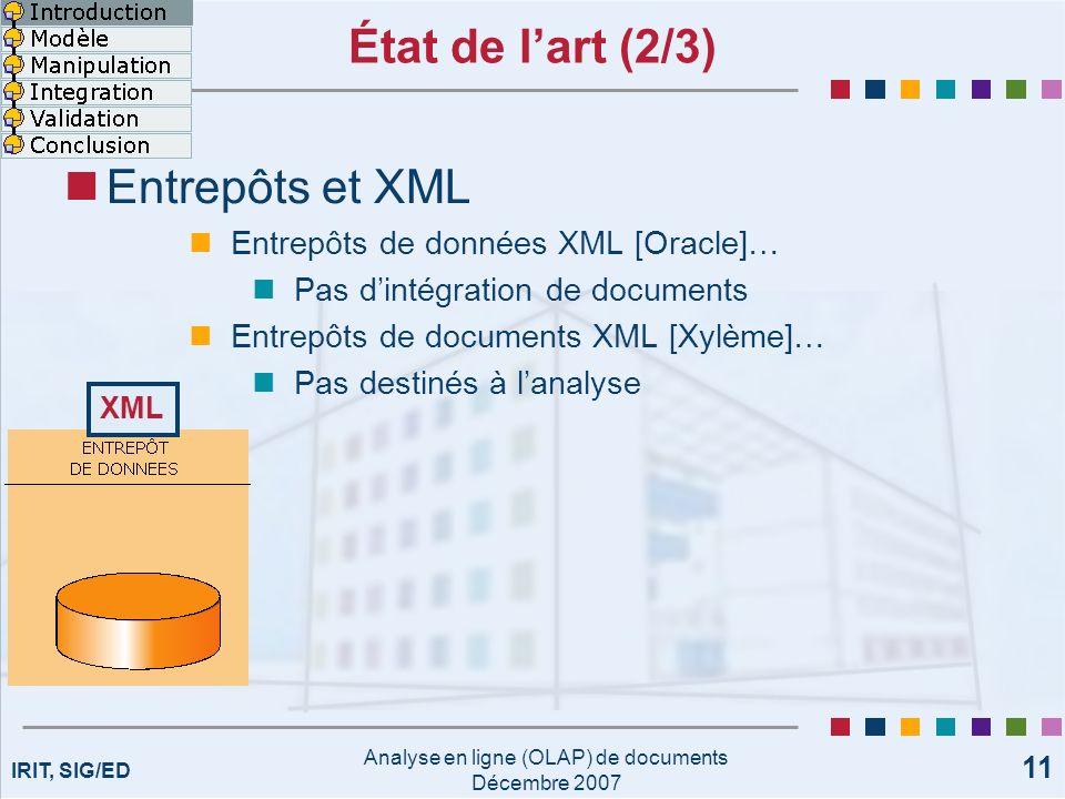 IRIT, SIG/ED Analyse en ligne (OLAP) de documents Décembre 2007 11 État de lart (2/3) Entrepôts et XML Entrepôts de données XML [Oracle]… Pas dintégra