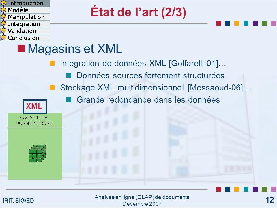IRIT, SIG/ED Analyse en ligne (OLAP) de documents Décembre 2007 12 État de lart (2/3) Magasins et XML Intégration de données XML [Golfarelli-01]… Donn