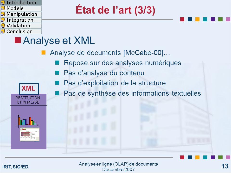 IRIT, SIG/ED Analyse en ligne (OLAP) de documents Décembre 2007 13 État de lart (3/3) Analyse et XML Analyse de documents [McCabe-00]… Repose sur des