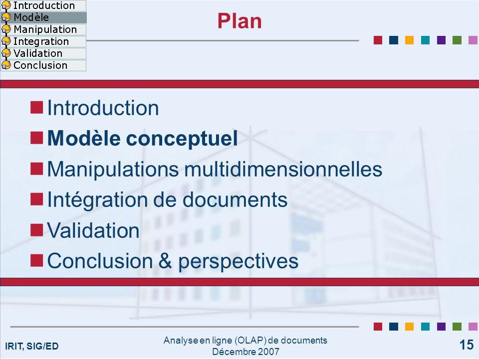 IRIT, SIG/ED Analyse en ligne (OLAP) de documents Décembre 2007 15 Plan Introduction Modèle conceptuel Manipulations multidimensionnelles Intégration