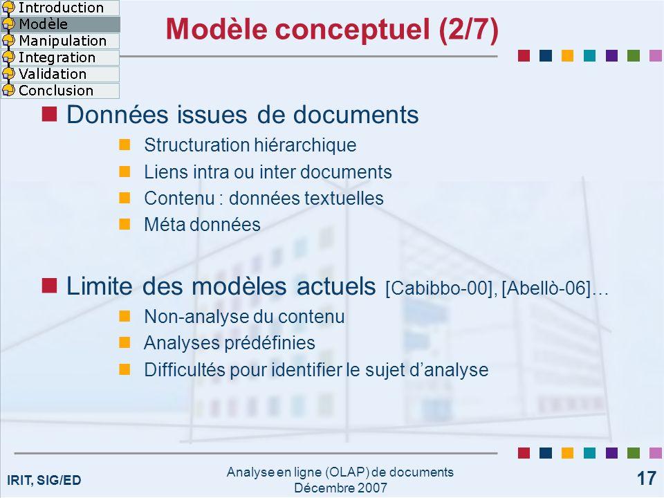 IRIT, SIG/ED Analyse en ligne (OLAP) de documents Décembre 2007 17 Modèle conceptuel (2/7) Données issues de documents Structuration hiérarchique Lien