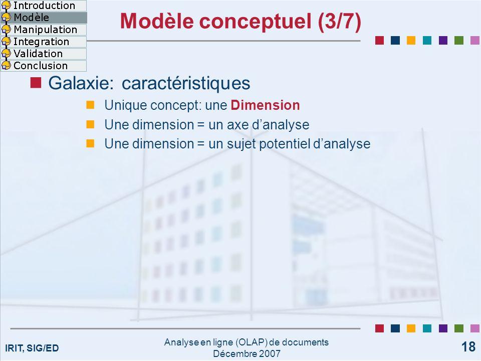 IRIT, SIG/ED Analyse en ligne (OLAP) de documents Décembre 2007 18 Modèle conceptuel (3/7) Galaxie: caractéristiques Unique concept: une Dimension Une