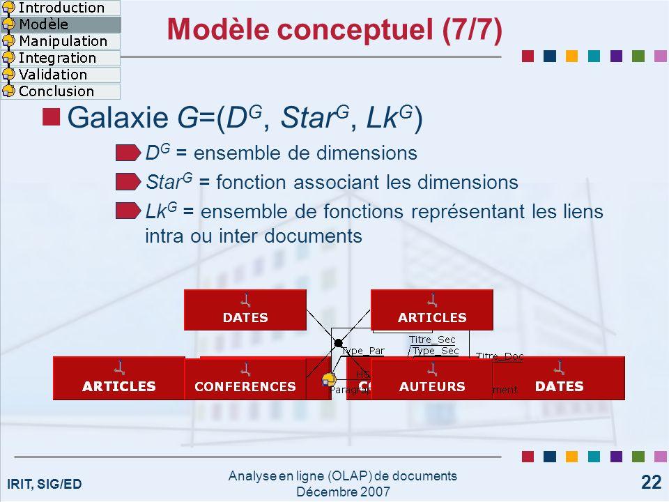 IRIT, SIG/ED Analyse en ligne (OLAP) de documents Décembre 2007 22 Modèle conceptuel (7/7) Galaxie G=(D G, Star G, Lk G ) D G = ensemble de dimensions