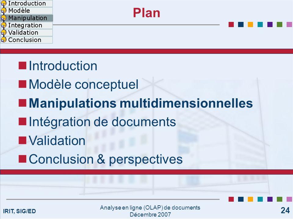 IRIT, SIG/ED Analyse en ligne (OLAP) de documents Décembre 2007 24 Plan Introduction Modèle conceptuel Manipulations multidimensionnelles Intégration