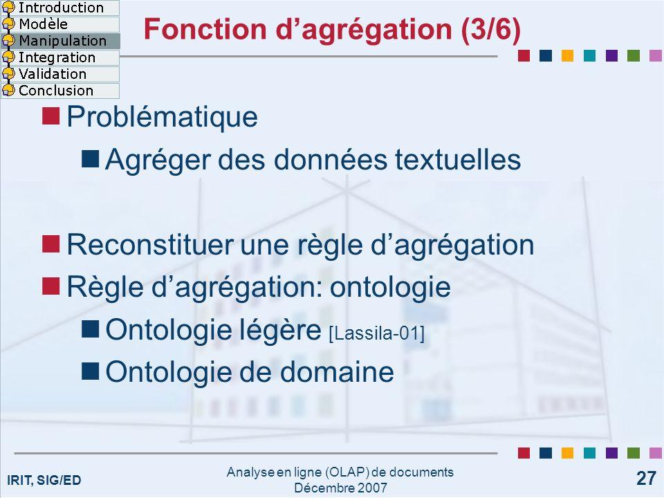 IRIT, SIG/ED Analyse en ligne (OLAP) de documents Décembre 2007 27 Fonction dagrégation (3/6) Problématique Agréger des données textuelles Reconstitue