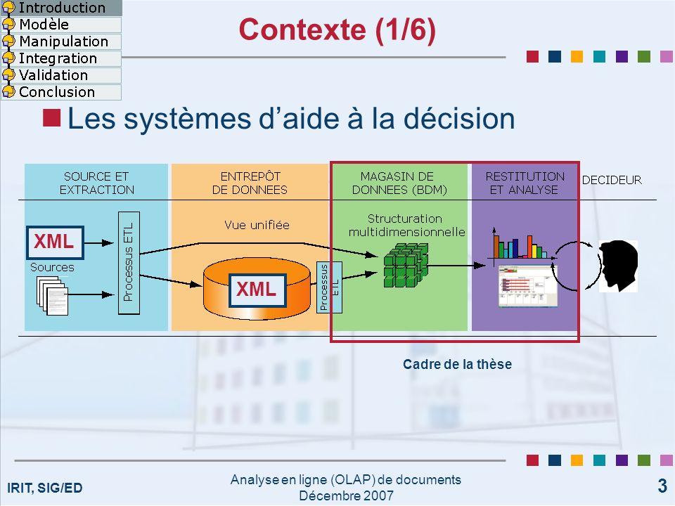 IRIT, SIG/ED Analyse en ligne (OLAP) de documents Décembre 2007 14 État de lart (3/3) Actuellement OLAP ne gère pas Données textuelles Structure Contenu Objectif : Analyse OLAP de documents