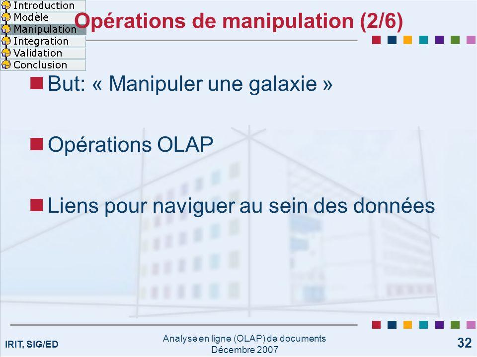 IRIT, SIG/ED Analyse en ligne (OLAP) de documents Décembre 2007 32 Opérations de manipulation (2/6) But: « Manipuler une galaxie » Opérations OLAP Lie