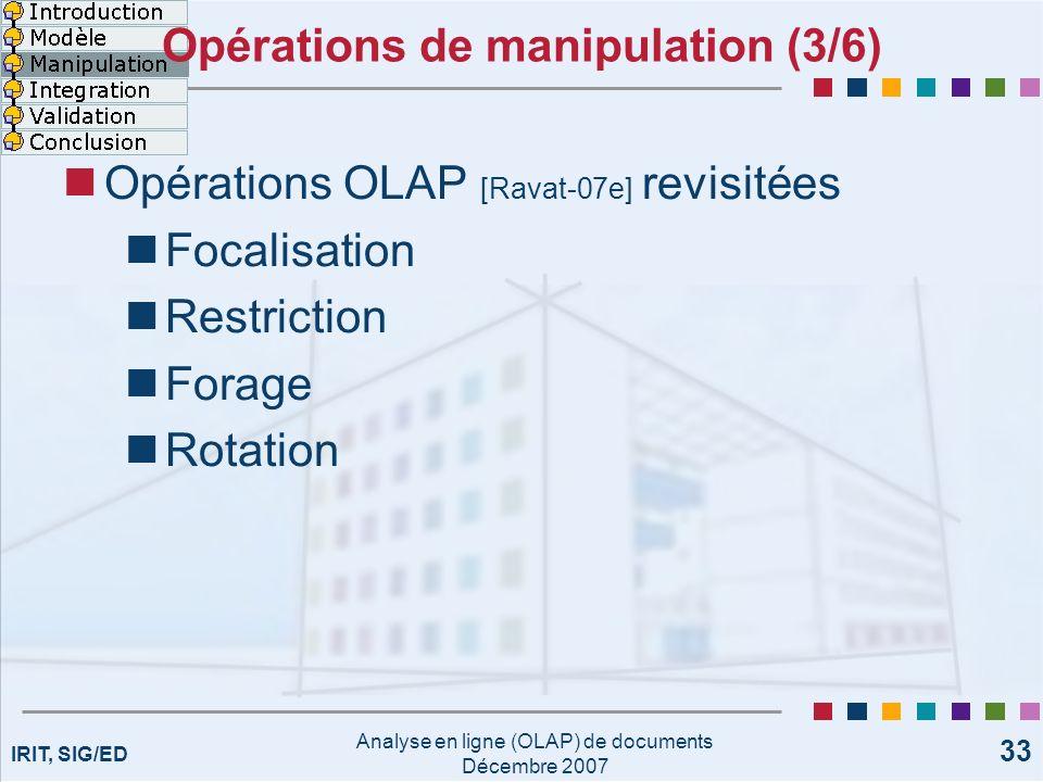 IRIT, SIG/ED Analyse en ligne (OLAP) de documents Décembre 2007 33 Opérations de manipulation (3/6) Opérations OLAP [Ravat-07e] revisitées Focalisatio
