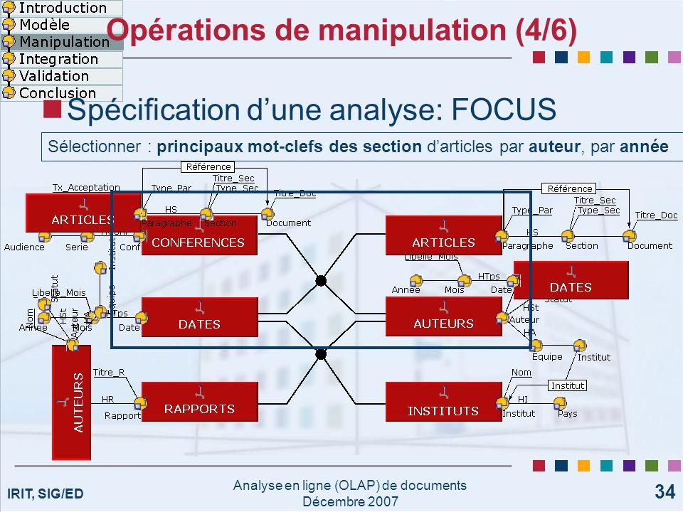 IRIT, SIG/ED Analyse en ligne (OLAP) de documents Décembre 2007 34 Opérations de manipulation (4/6) Spécification dune analyse: FOCUS Sélectionner : p