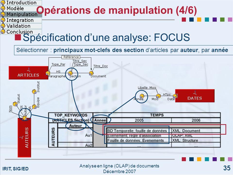 IRIT, SIG/ED Analyse en ligne (OLAP) de documents Décembre 2007 35 Opérations de manipulation (4/6) Spécification dune analyse: FOCUS Sélectionner : p