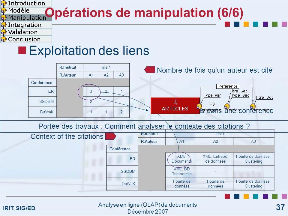 IRIT, SIG/ED Analyse en ligne (OLAP) de documents Décembre 2007 37 Opérations de manipulation (6/6) Exploitation des liens R.InstitutInst1 R.AuteurA1A