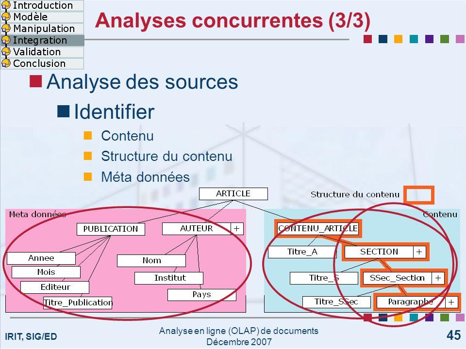 IRIT, SIG/ED Analyse en ligne (OLAP) de documents Décembre 2007 45 Analyses concurrentes (3/3) Analyse des sources Identifier Contenu Structure du con