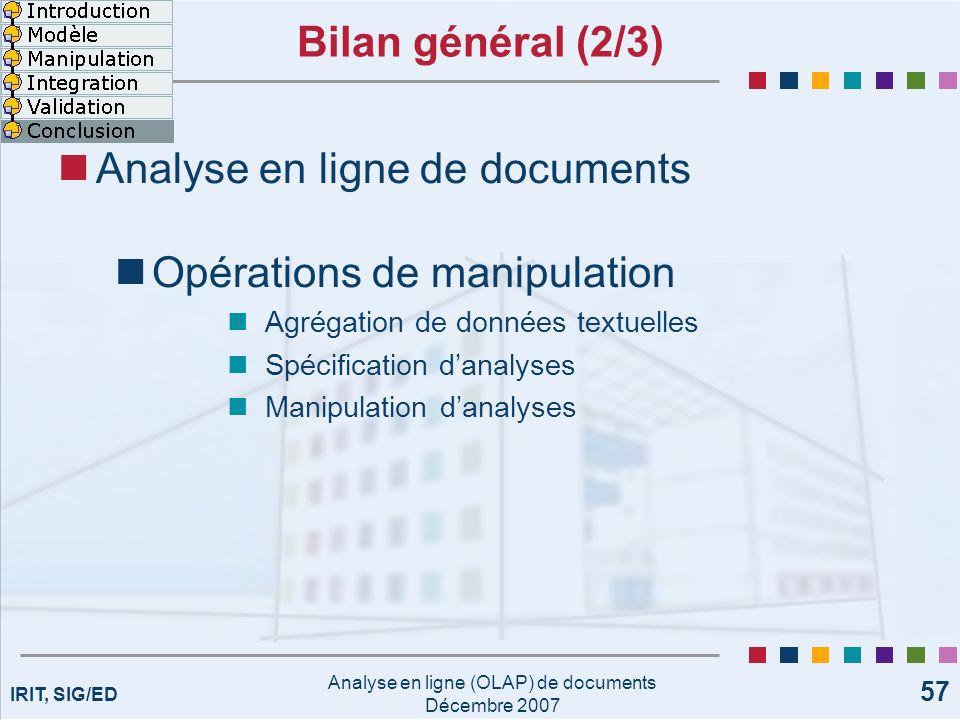 IRIT, SIG/ED Analyse en ligne (OLAP) de documents Décembre 2007 57 Bilan général (2/3) Analyse en ligne de documents Opérations de manipulation Agréga