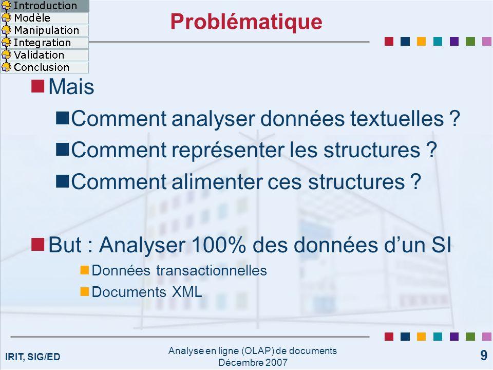 IRIT, SIG/ED Analyse en ligne (OLAP) de documents Décembre 2007 9 Problématique Mais Comment analyser données textuelles ? Comment représenter les str