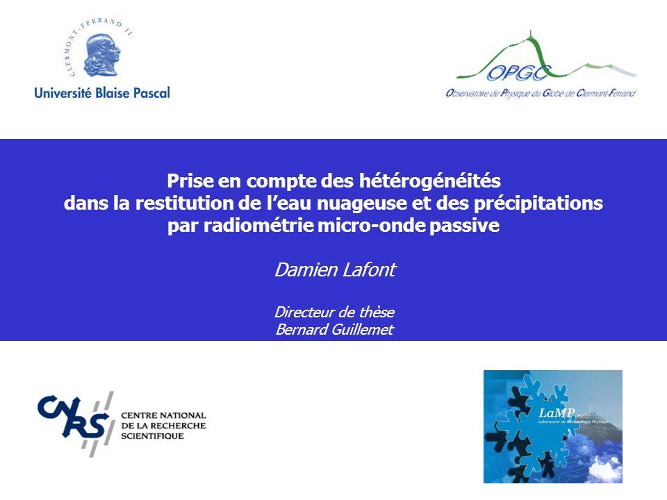 Prise en compte des hétérogénéités dans la restitution de leau nuageuse et des précipitations par radiométrie micro-onde passive Damien Lafont Directe