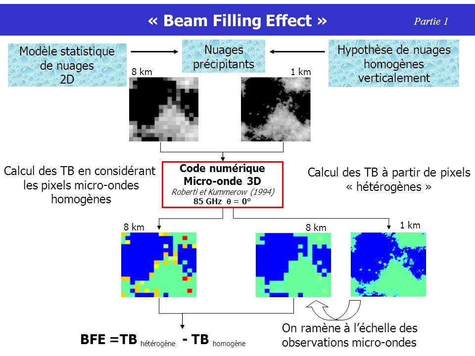 « Beam Filling Effect » Partie 1 8 km1 km BFE =TB hétérogène - TB homogène Code numérique Micro-onde 3D Roberti et Kummerow (1994) 85 GHz = 0° Calcul des TB en considérant les pixels micro-ondes homogènes 8 km Calcul des TB à partir de pixels « hétérogènes » 1 km 8 km On ramène à léchelle des observations micro-ondes Modèle statistique de nuages 2D Hypothèse de nuages homogènes verticalement Nuages précipitants