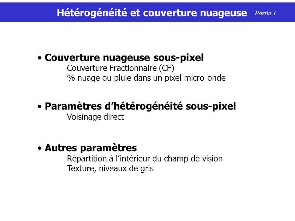 Hétérogénéité et couverture nuageuse Couverture nuageuse sous-pixel Couverture Fractionnaire (CF) % nuage ou pluie dans un pixel micro-onde Paramètres dhétérogénéité sous-pixel Voisinage direct Autres paramètres Répartition à lintérieur du champ de vision Texture, niveaux de gris Partie 1