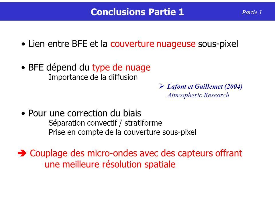 Conclusions Partie 1 Partie 1 BFE dépend du type de nuage Importance de la diffusion Lafont et Guillemet (2004) Atmospheric Research Pour une correcti