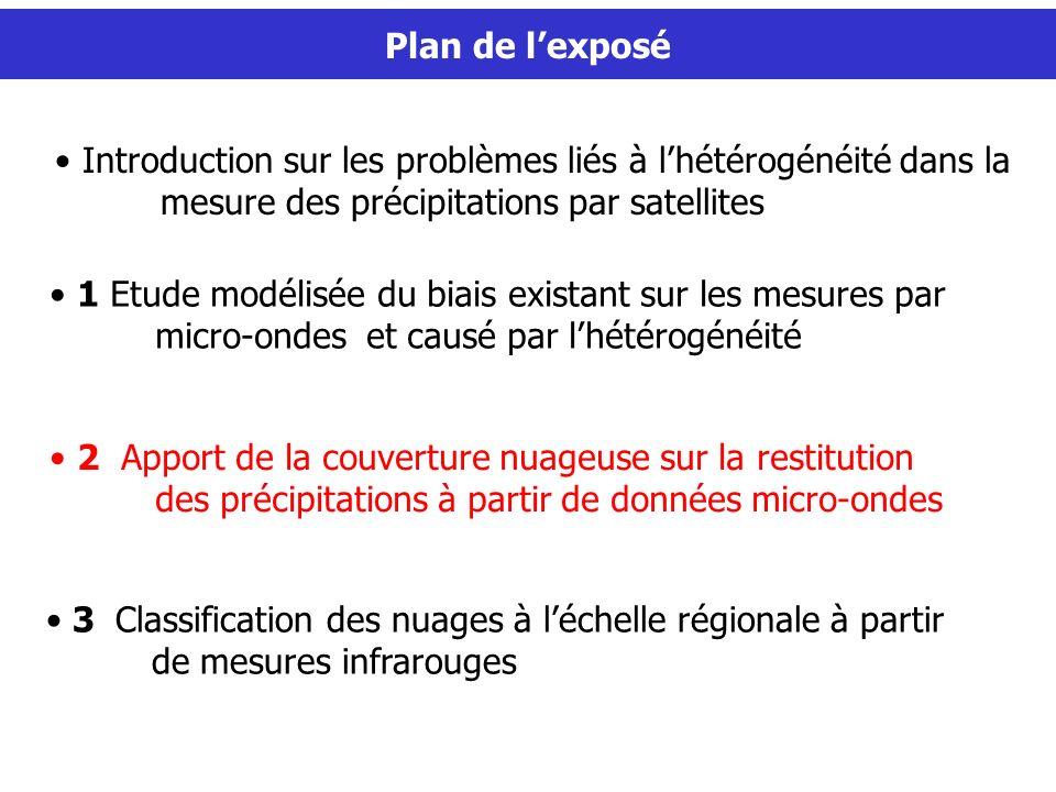 Plan de lexposé 2 Apport de la couverture nuageuse sur la restitution des précipitations à partir de données micro-ondes 1 Etude modélisée du biais ex