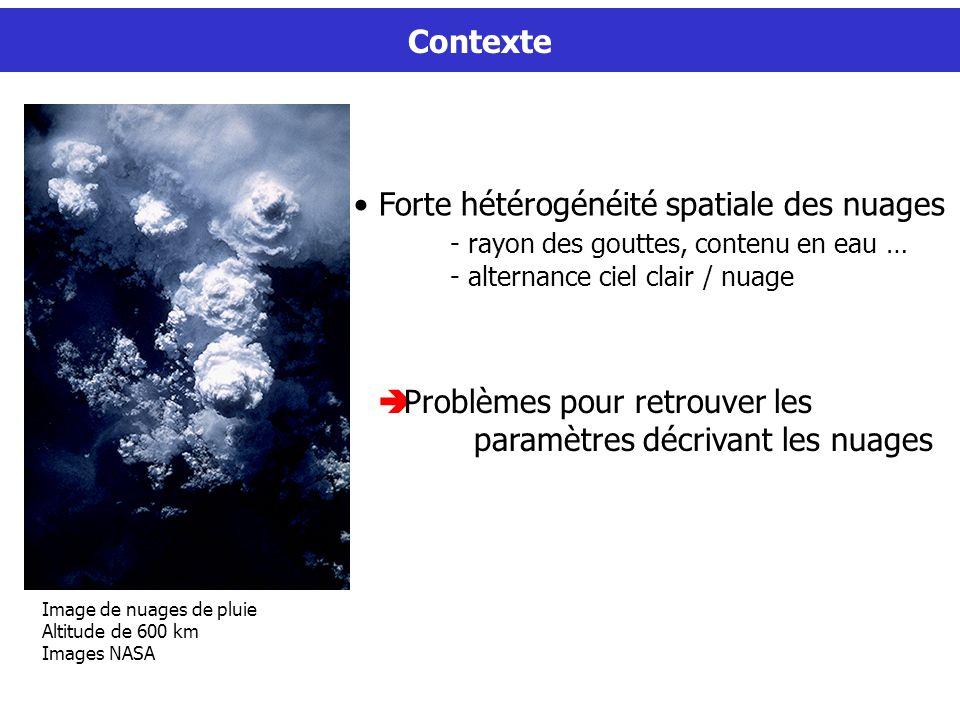Contexte Problèmes pour retrouver les paramètres décrivant les nuages Forte hétérogénéité spatiale des nuages - rayon des gouttes, contenu en eau … - alternance ciel clair / nuage Image de nuages de pluie Altitude de 600 km Images NASA