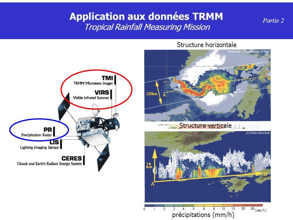 Application aux données TRMM Tropical Rainfall Measuring Mission Partie 2 TMI : 10.7, 19.4, 21.3, 37, 85.5 GHz VIRS : 0.63, 1.6, 3.75, 10.8, 12 µm PR : 13.8 GHz Structure horizontale Structure verticale précipitations (mm/h)