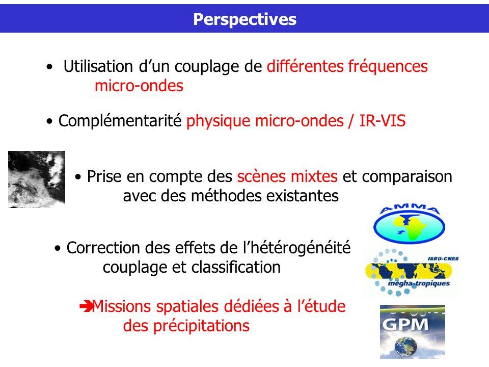 Perspectives Prise en compte des scènes mixtes et comparaison avec des méthodes existantes Utilisation dun couplage de différentes fréquences micro-ondes Correction des effets de lhétérogénéité couplage et classification Missions spatiales dédiées à létude des précipitations Complémentarité physique micro-ondes / IR-VIS