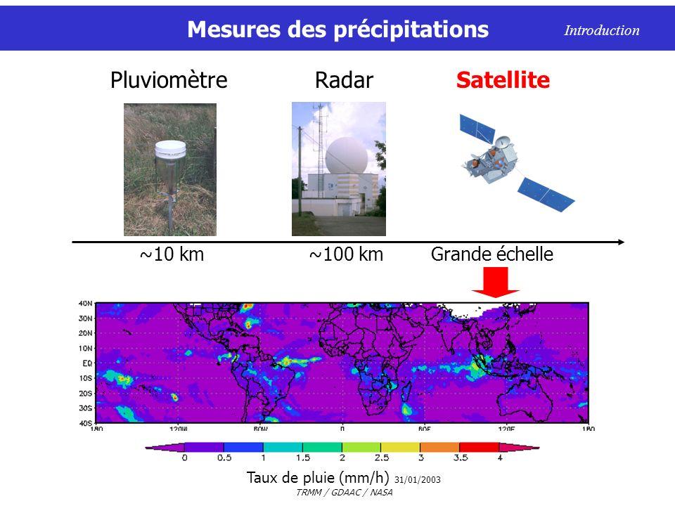 Mesures des précipitations Taux de pluie (mm/h) 31/01/2003 TRMM / GDAAC / NASA Introduction RadarPluviomètre ~10 km~100 km Satellite Grande échelle