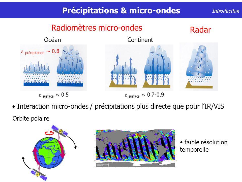 Précipitations & micro-ondes Introduction faible résolution temporelle Orbite polaire Radiomètres micro-ondes Continent surface ~ 0.7-0.9 Océan surface ~ 0.5 Interaction micro-ondes / précipitations plus directe que pour lIR/VIS Radar précipitation ~ 0.8