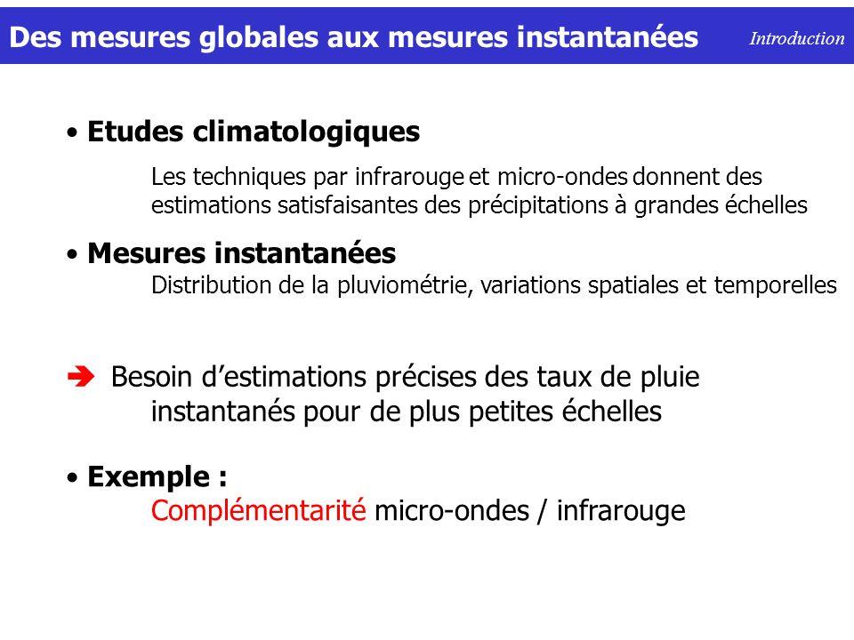 Des mesures globales aux mesures instantanées Introduction Besoin destimations précises des taux de pluie instantanés pour de plus petites échelles Ex